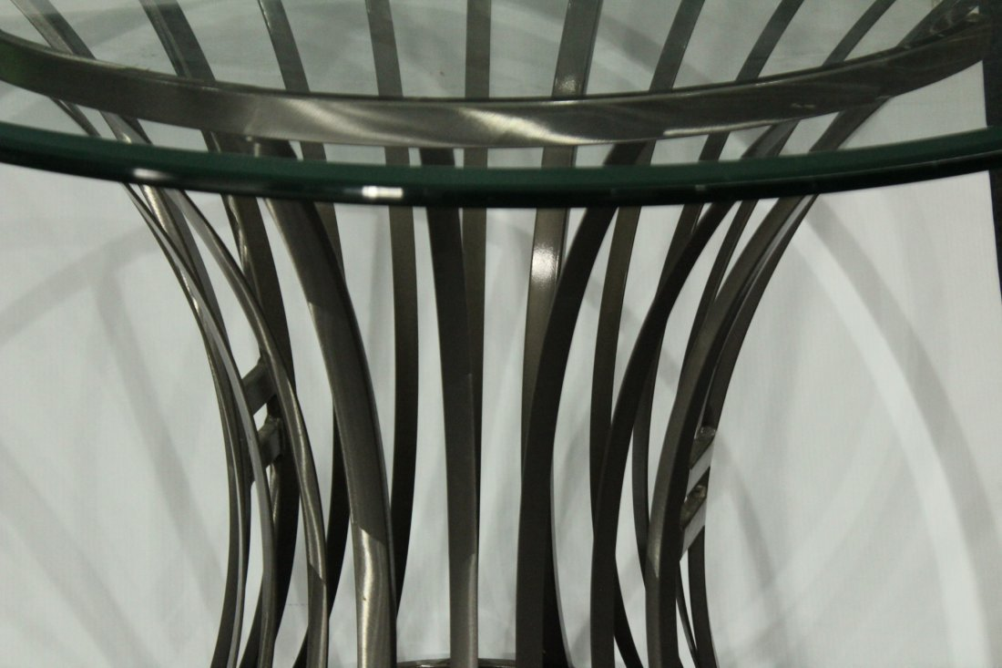 Mid-Century Design BRUSHED STEEL ROUND GLASS TOP TABLE - 3