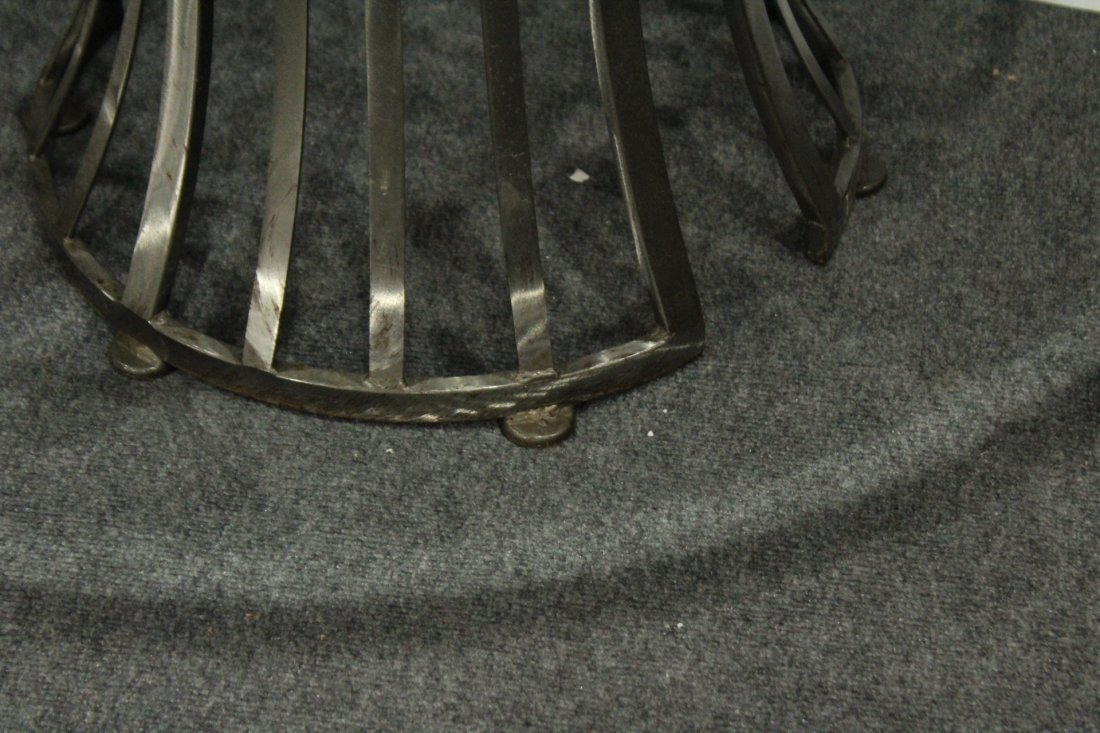 Mid-Century Design BRUSHED STEEL ROUND GLASS TOP TABLE - 5