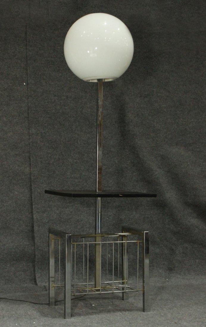Mid-Century Modern BLACK & CHROME POLE LAMP BALL SHADE