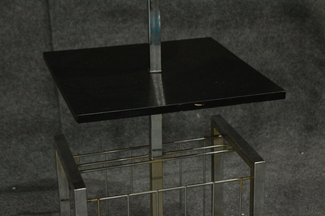 Mid-Century Modern BLACK & CHROME POLE LAMP BALL SHADE - 3