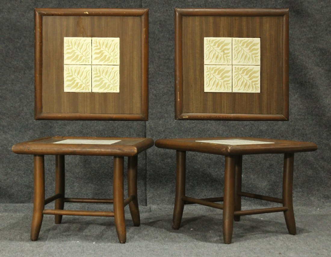 Pair Mid-Century Modern TILE TOP TABORET STANDS