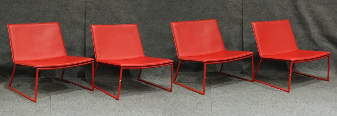 Four [4] Mid-Century Design RED SCOOP CHAIRS