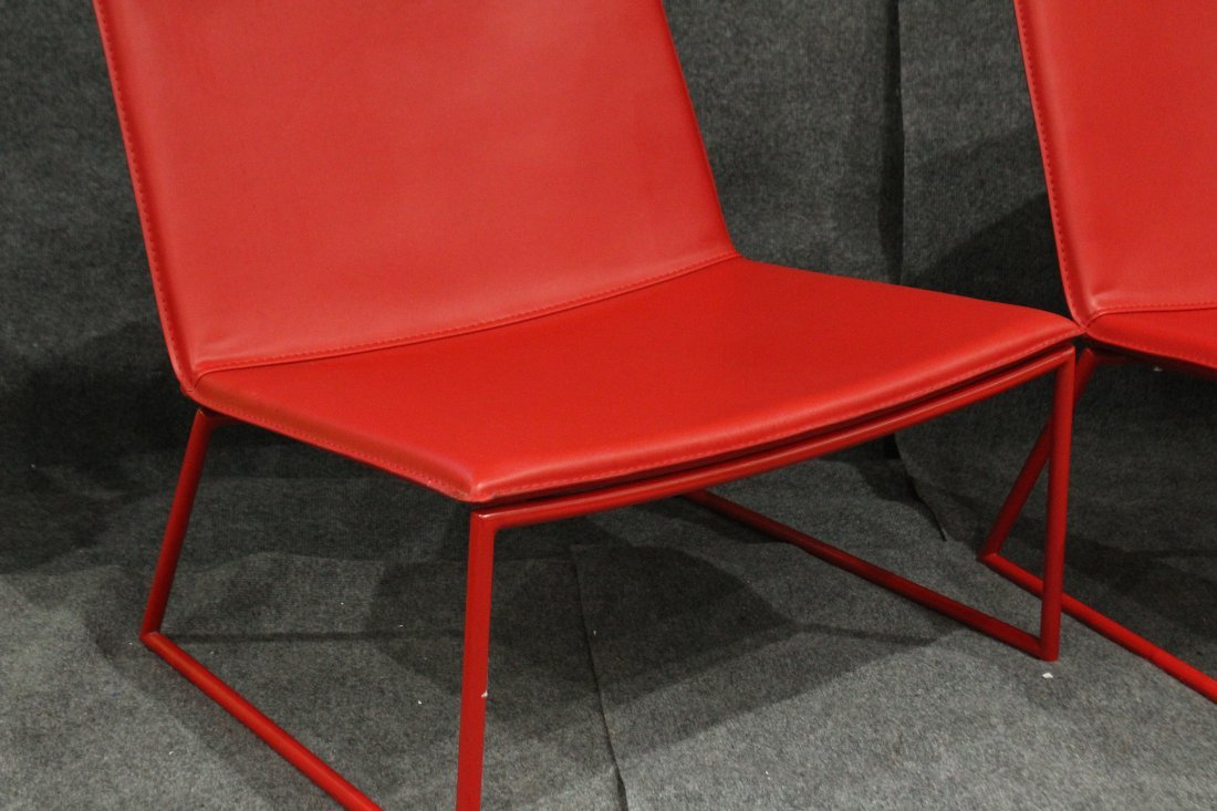 Four [4] Mid-Century Design RED SCOOP CHAIRS - 2