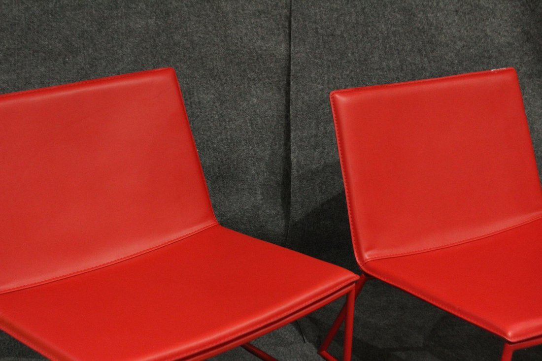 Four [4] Mid-Century Design RED SCOOP CHAIRS - 3