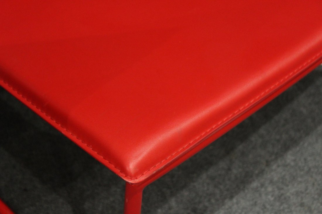 Four [4] Mid-Century Design RED SCOOP CHAIRS - 4