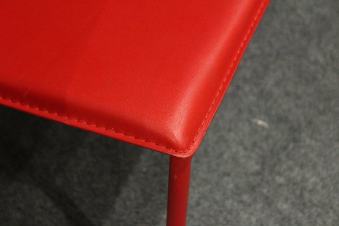 Four [4] Mid-Century Design RED SCOOP CHAIRS - 5
