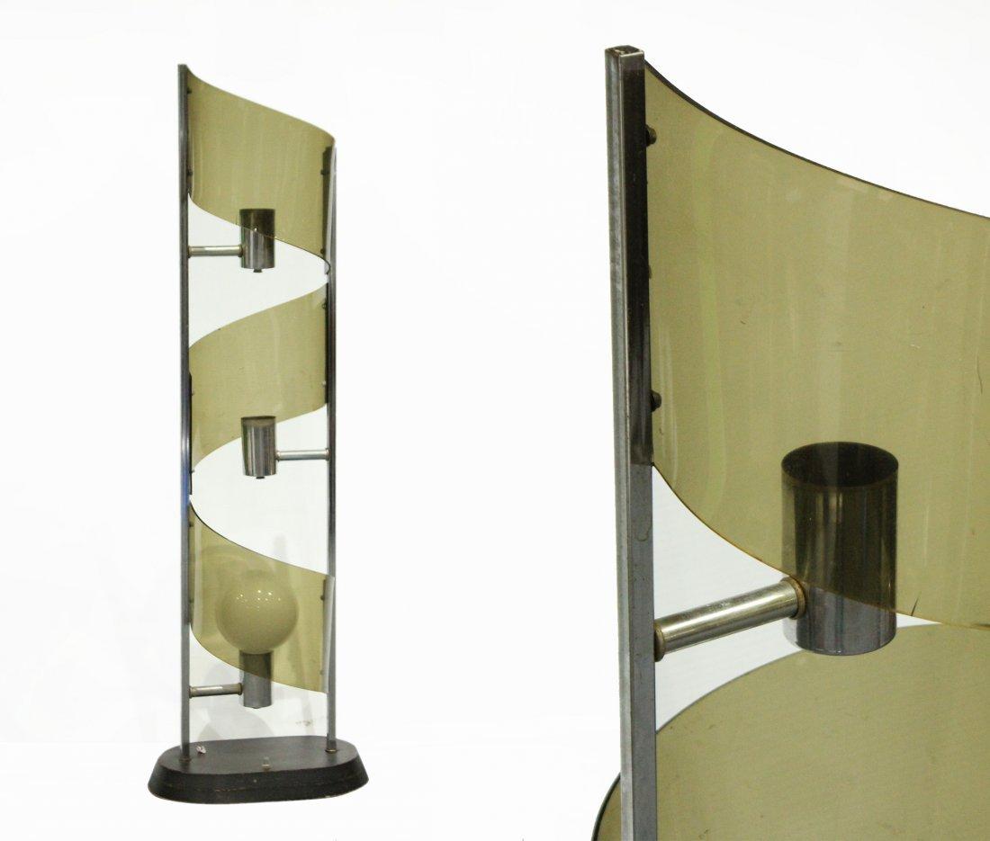 Mid-Century Modern SMOKED LUCITE 3-Light TWIST LAMP