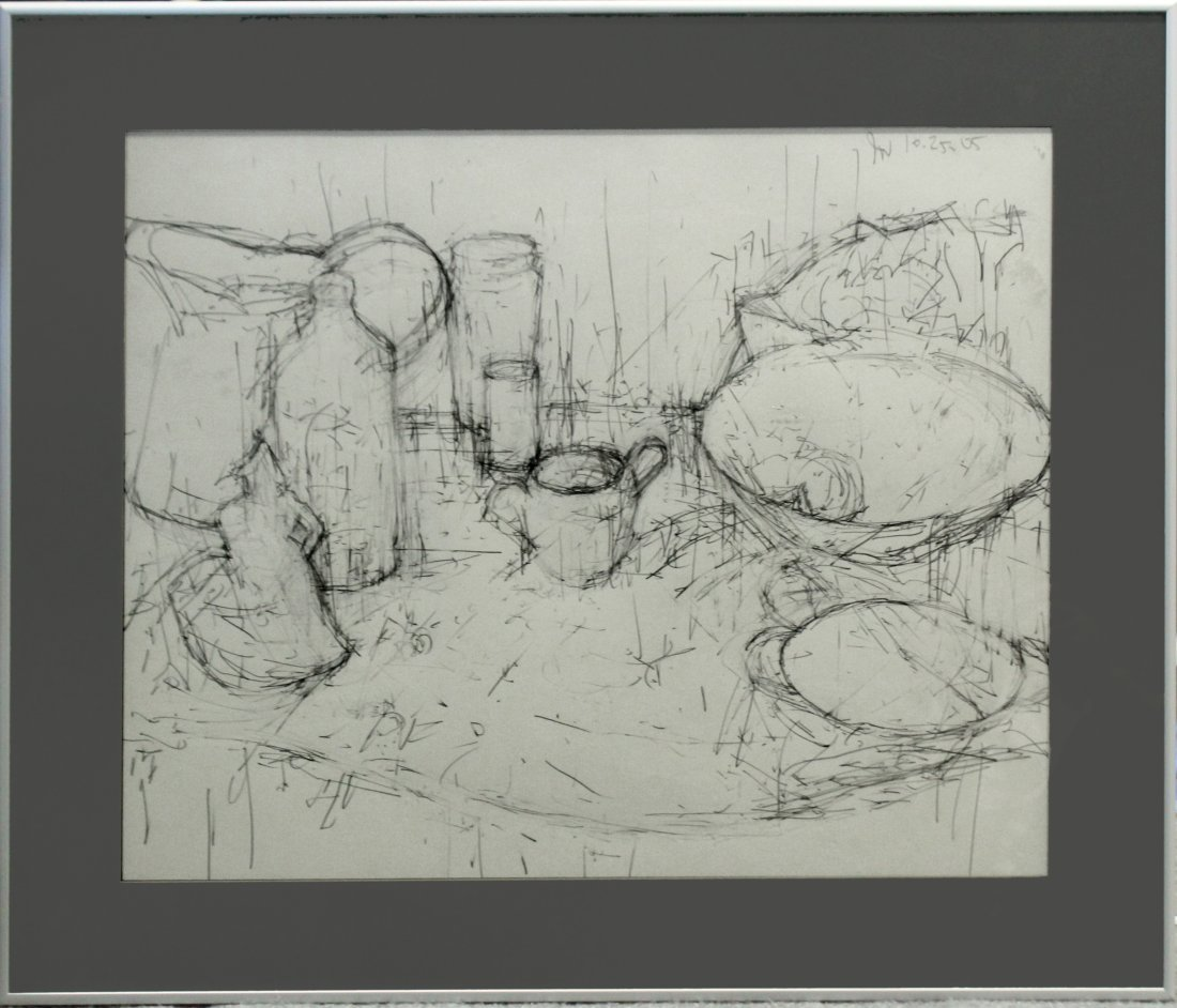 20th C. PENCIL DRAWING TABLE TOP STILL LIFE