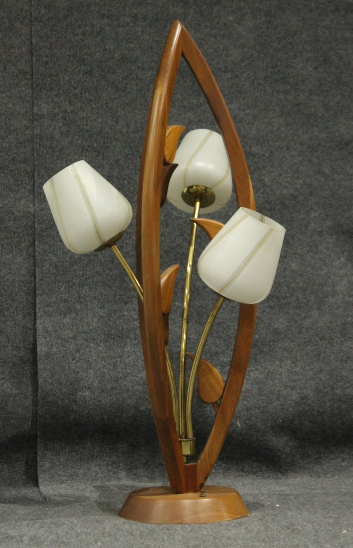 Mid-Century Modern TEAK FLOWER FORM 3-LIGHT TABLE LAMP