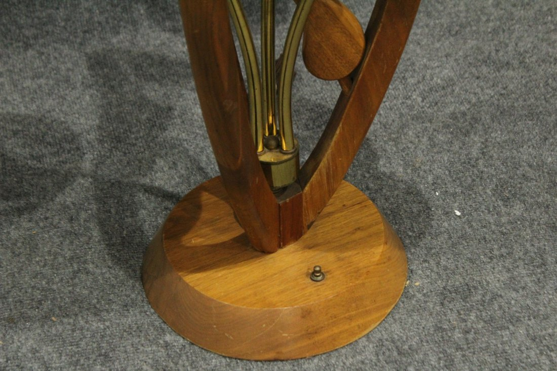 Mid-Century Modern TEAK FLOWER FORM 3-LIGHT TABLE LAMP - 2