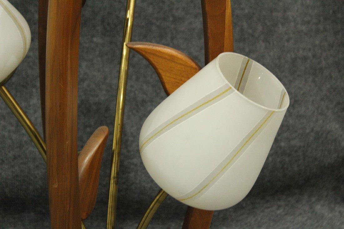 Mid-Century Modern TEAK FLOWER FORM 3-LIGHT TABLE LAMP - 3