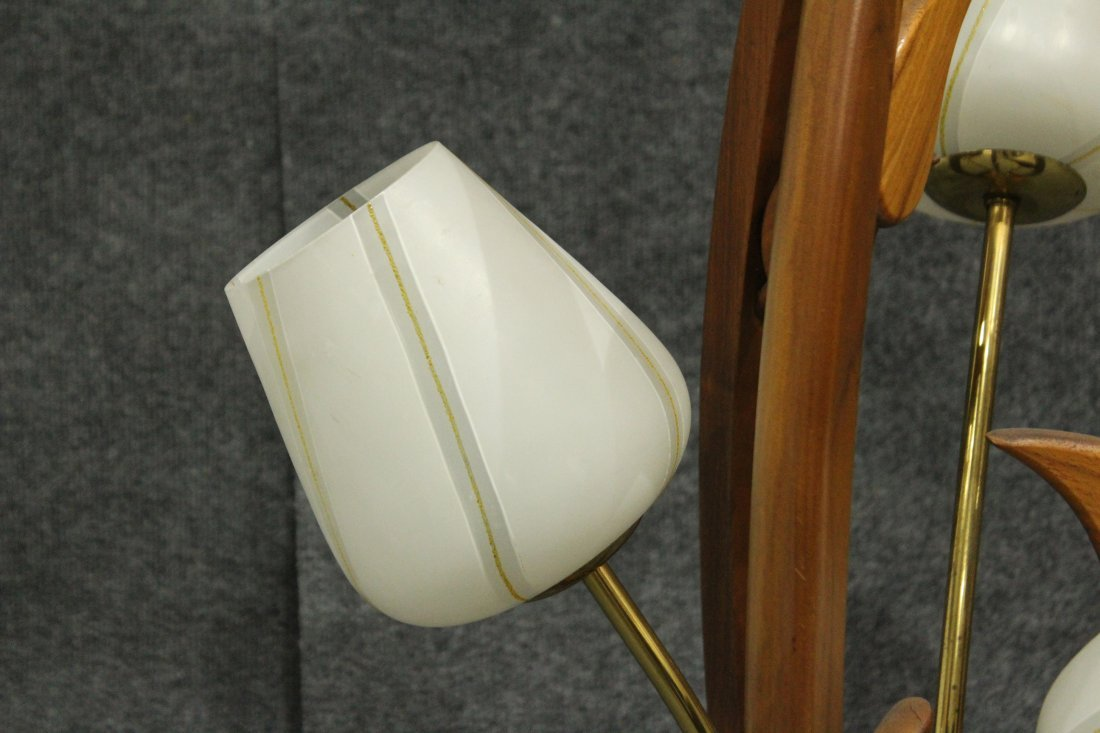Mid-Century Modern TEAK FLOWER FORM 3-LIGHT TABLE LAMP - 4