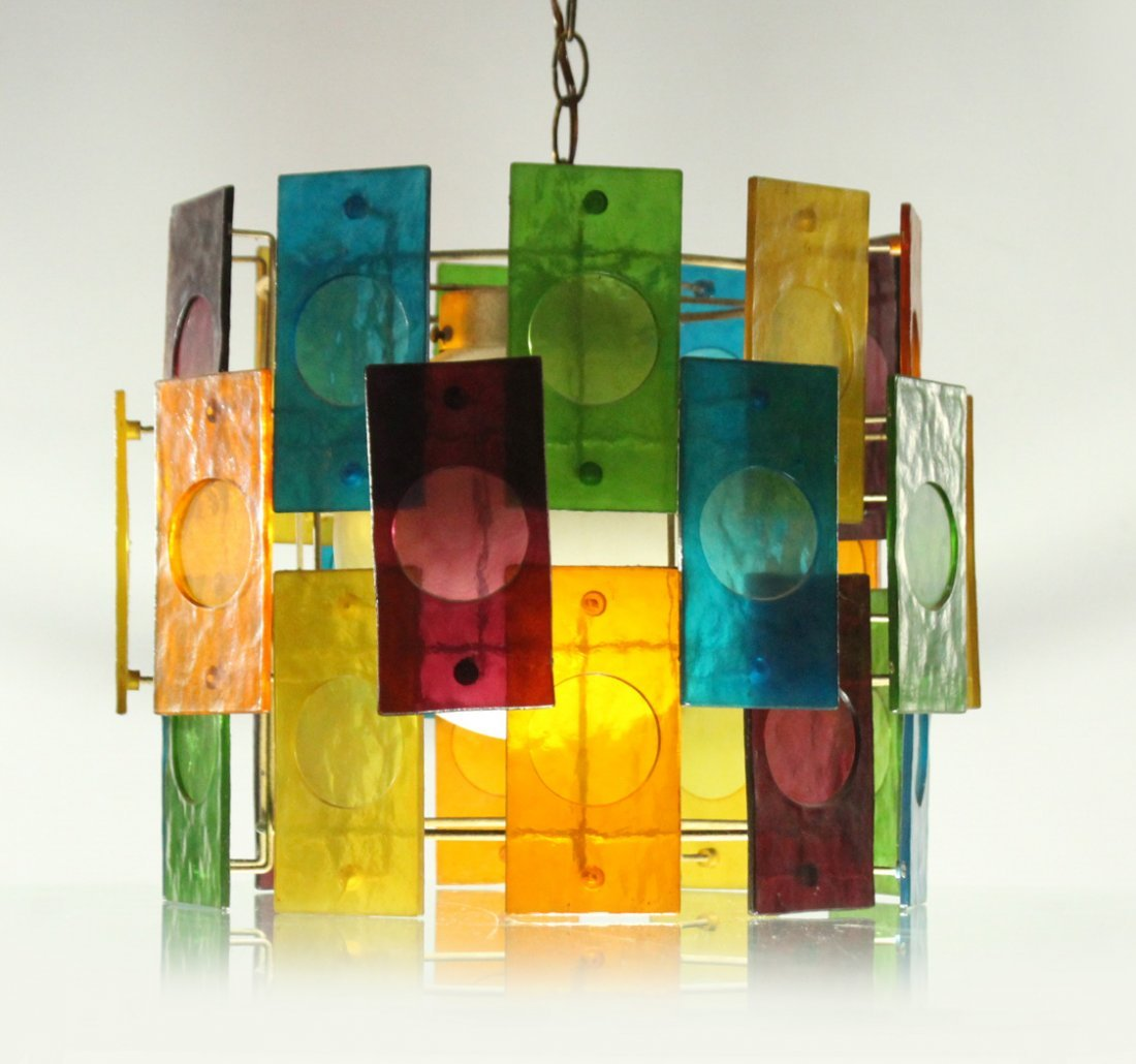 Mid-Century Modern MULTI COLOR GLASS PANEL CEILING LAMP