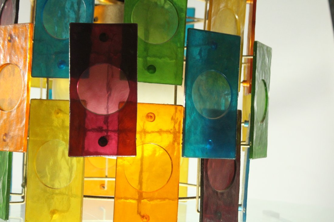 Mid-Century Modern MULTI COLOR GLASS PANEL CEILING LAMP - 3