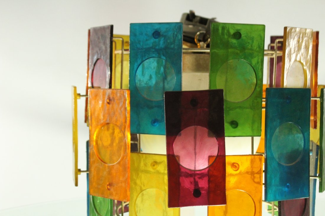 Mid-Century Modern MULTI COLOR GLASS PANEL CEILING LAMP - 4