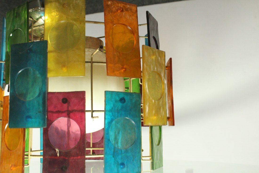 Mid-Century Modern MULTI COLOR GLASS PANEL CEILING LAMP - 5