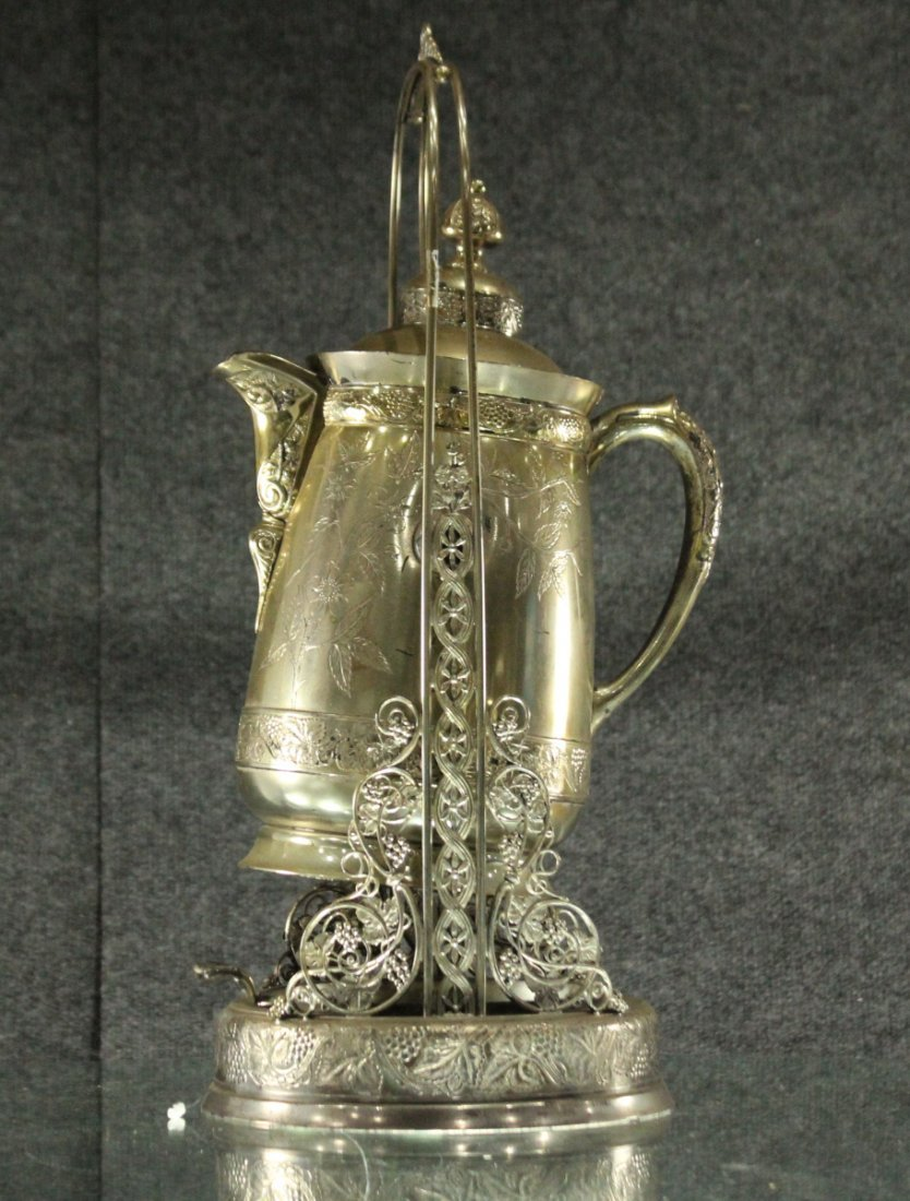 Antique Ornate VICTORIAN SILVER PLATE CRADLE COFFEE POT