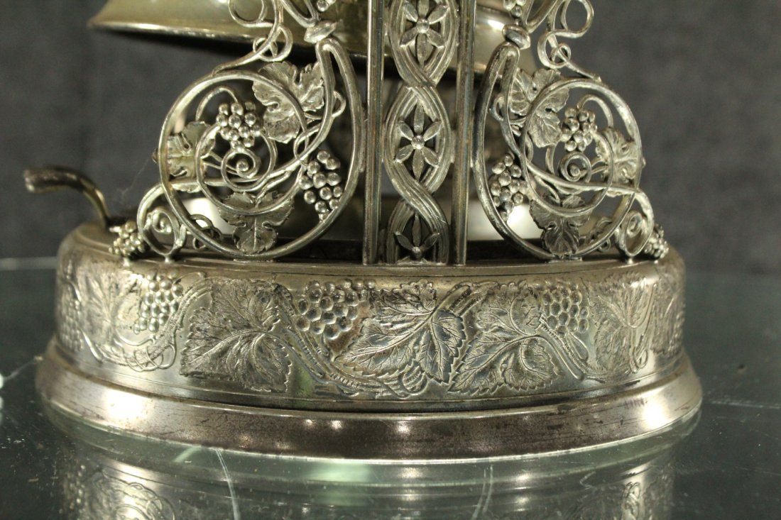 Antique Ornate VICTORIAN SILVER PLATE CRADLE COFFEE POT - 2