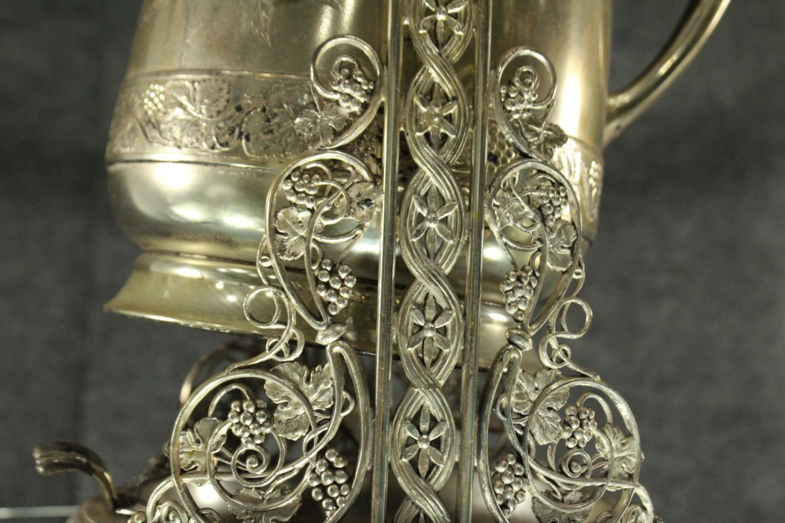 Antique Ornate VICTORIAN SILVER PLATE CRADLE COFFEE POT - 3