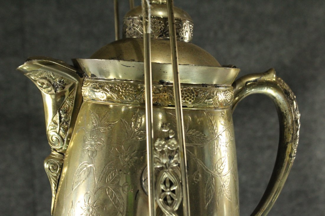 Antique Ornate VICTORIAN SILVER PLATE CRADLE COFFEE POT - 4