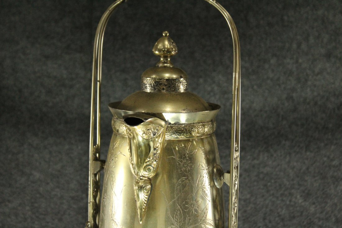Antique Ornate VICTORIAN SILVER PLATE CRADLE COFFEE POT - 6