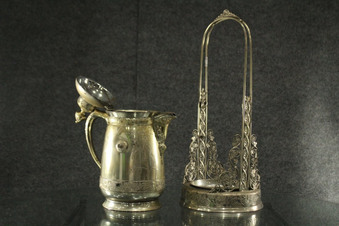 Antique Ornate VICTORIAN SILVER PLATE CRADLE COFFEE POT - 8