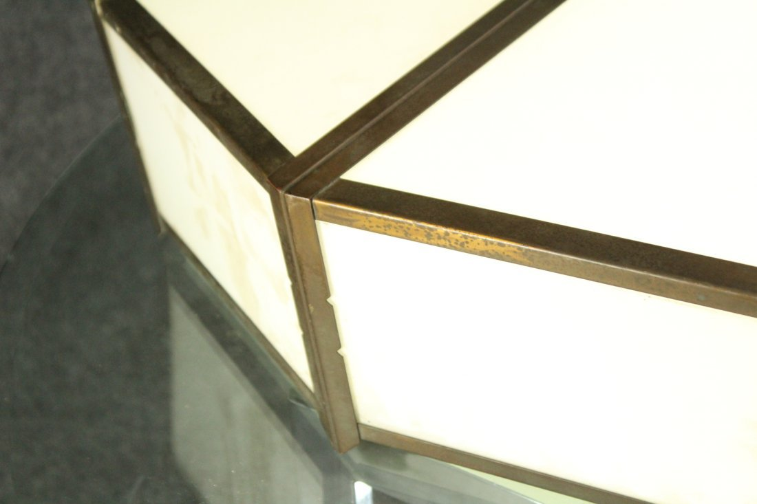 Antique THEATRE GLASS PANELED CEILING FIXTURE 30 in Dia - 4