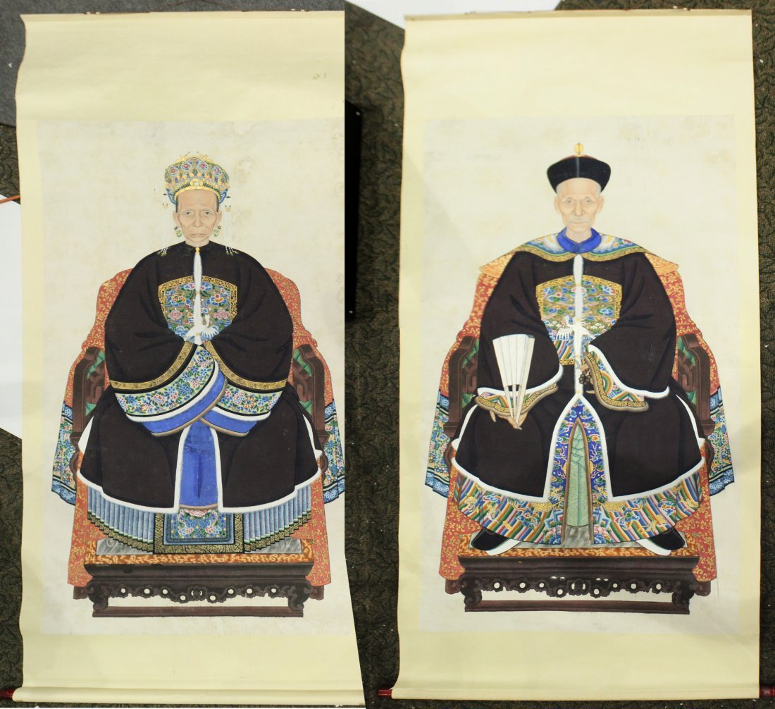 Two [2] Large Size CHINESE SCROLLS OF A KING AND QUEEN