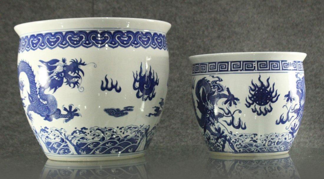 Two [2] ORIENTAL PORCELAIN POTS Blue & White DRAGONS