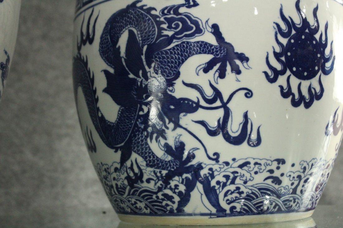 Two [2] ORIENTAL PORCELAIN POTS Blue & White DRAGONS - 3
