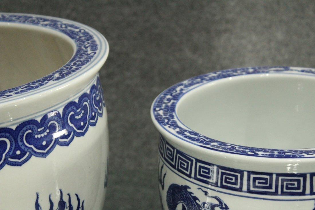 Two [2] ORIENTAL PORCELAIN POTS Blue & White DRAGONS - 4