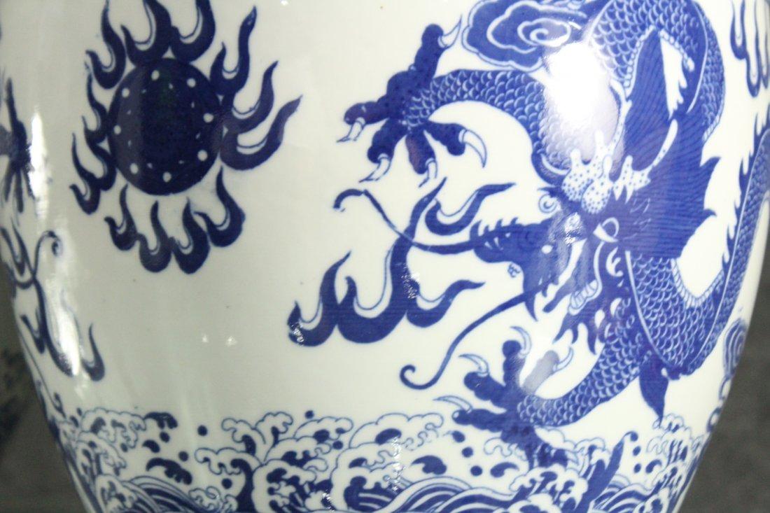 Two [2] ORIENTAL PORCELAIN POTS Blue & White DRAGONS - 5