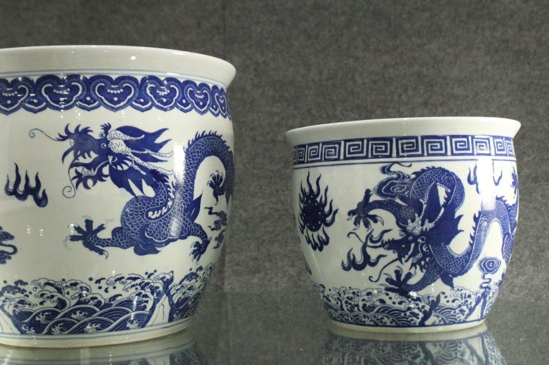 Two [2] ORIENTAL PORCELAIN POTS Blue & White DRAGONS - 6