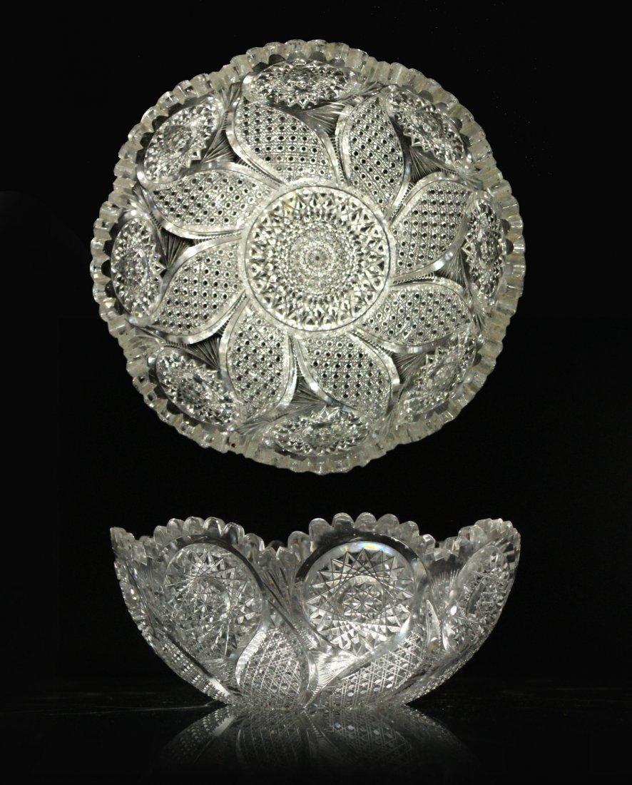 AMERICAN BRILLIANT CUT GLASS BOWL - Great Pattern