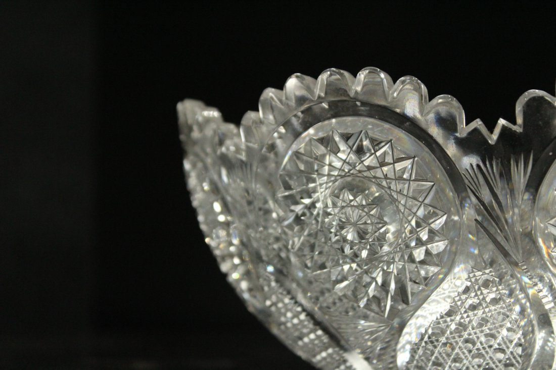 AMERICAN BRILLIANT CUT GLASS BOWL - Great Pattern - 2