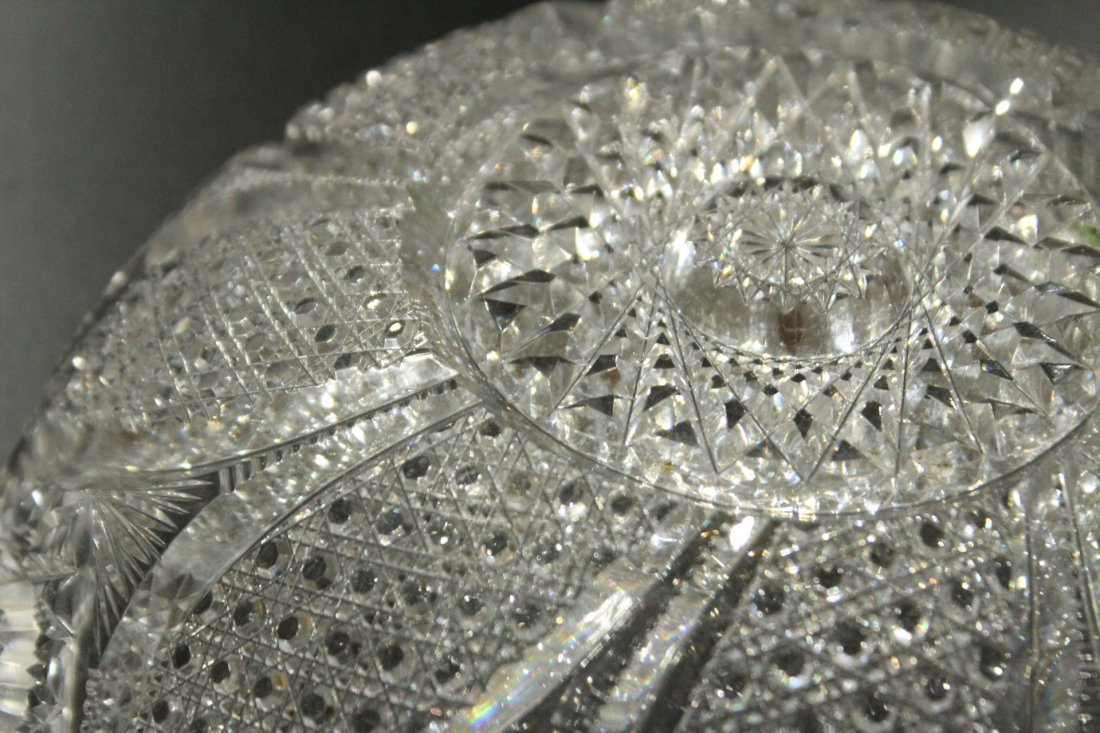 AMERICAN BRILLIANT CUT GLASS BOWL - Great Pattern - 9