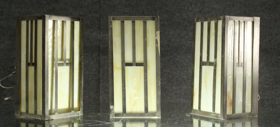 Three [3] Mission Style SLAG GLASS PANEL WALL SCONCES