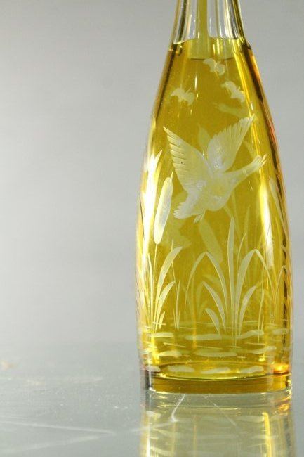 YELLOW BOHEMIAN GLASS DECANTER Geese Flying Over Marsh - 2