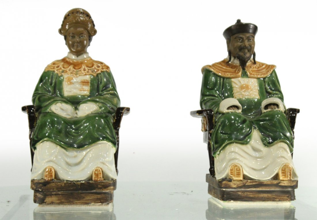 Two [2] ORIENTAL PORCELAIN SEATED FIGURES KING & QUEEN