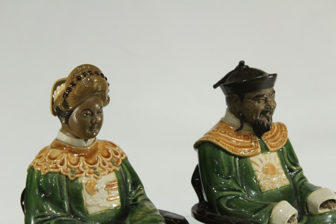 Two [2] ORIENTAL PORCELAIN SEATED FIGURES KING & QUEEN - 3