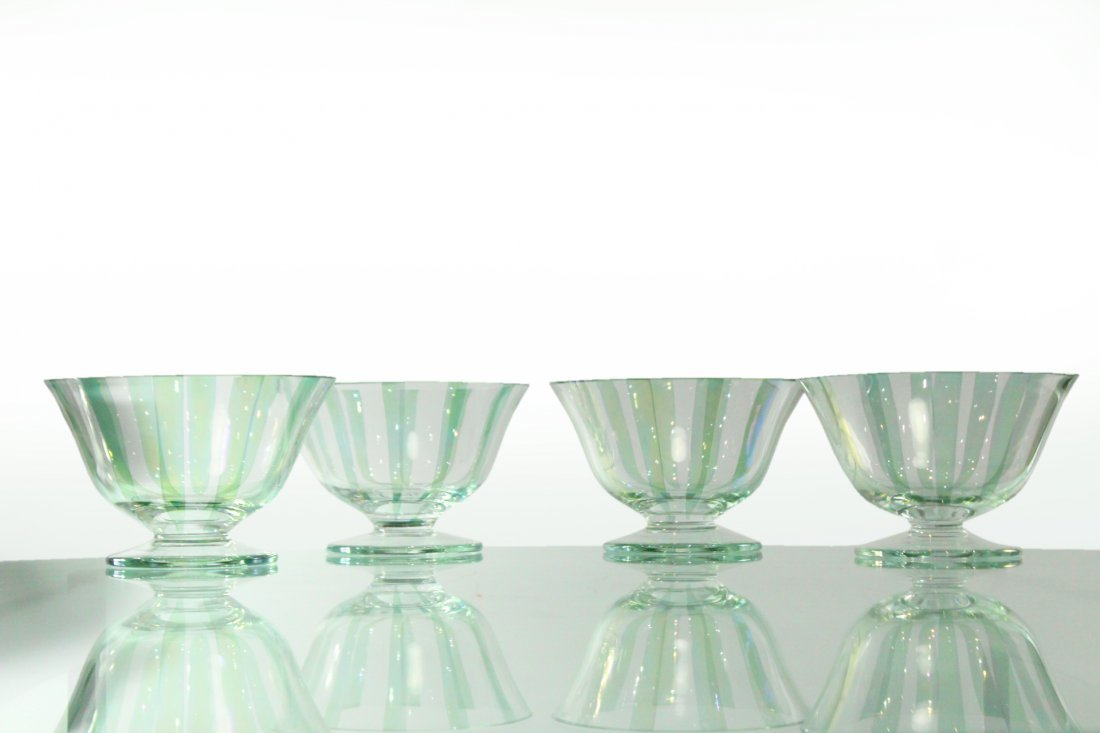 Four [4] ITALIAN GLASS SHERBETS Clear With Green Ribbed