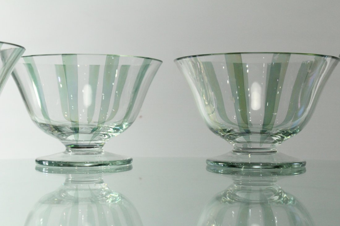 Four [4] ITALIAN GLASS SHERBETS Clear With Green Ribbed - 2
