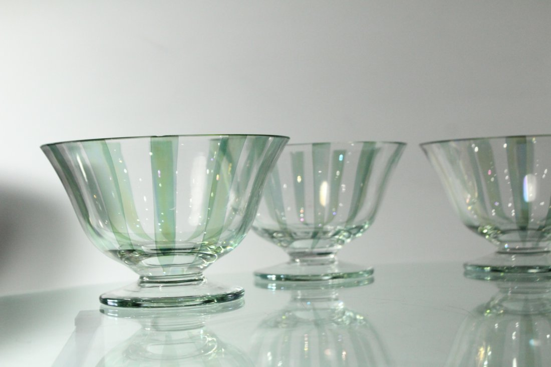 Four [4] ITALIAN GLASS SHERBETS Clear With Green Ribbed - 3
