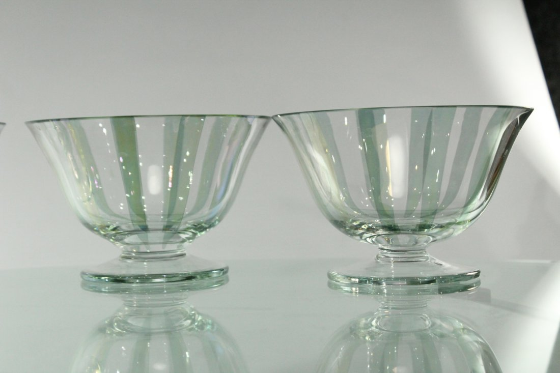 Four [4] ITALIAN GLASS SHERBETS Clear With Green Ribbed - 4