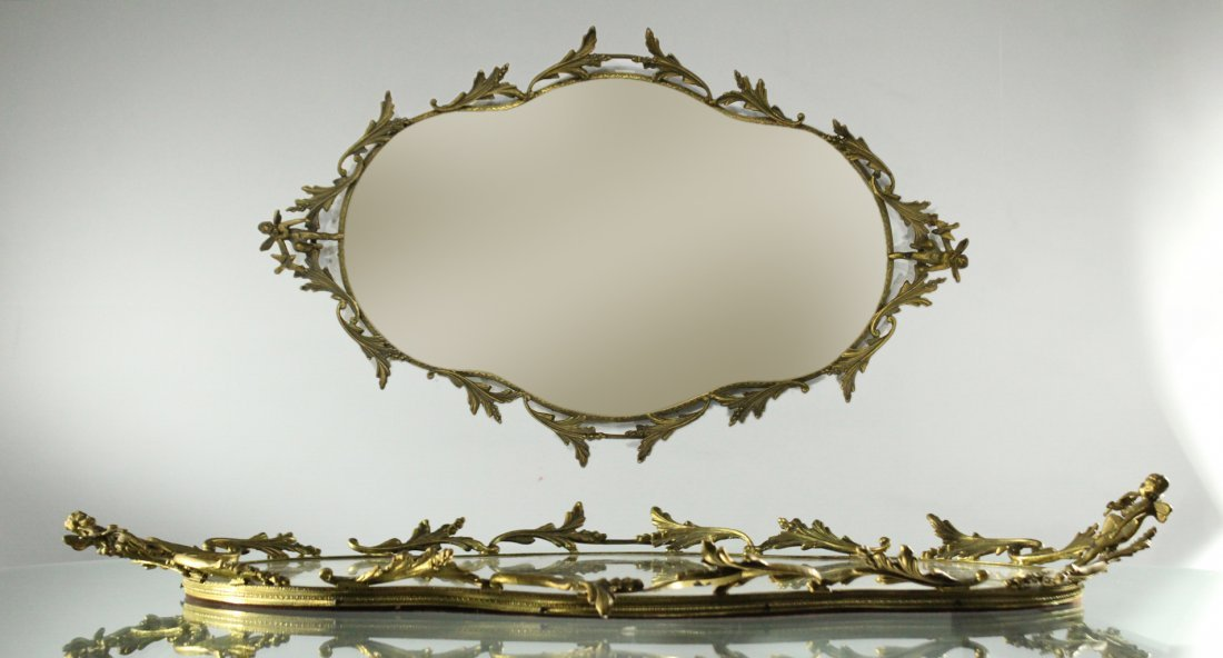 FRENCH BRONZE MIRRORED DRESSER TRAY Winged Putti Handle