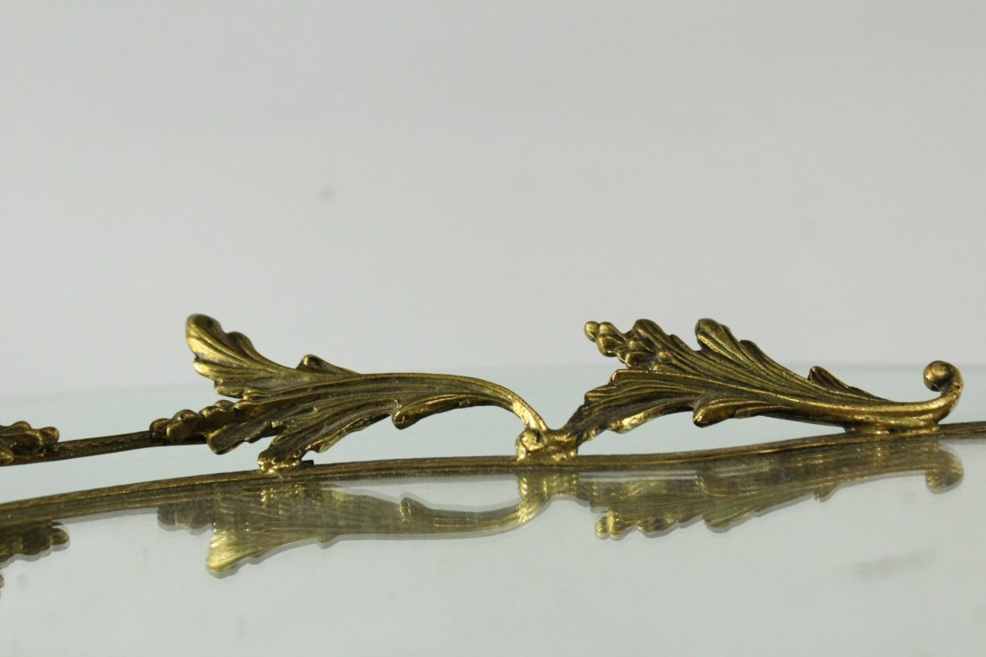 FRENCH BRONZE MIRRORED DRESSER TRAY Winged Putti Handle - 3