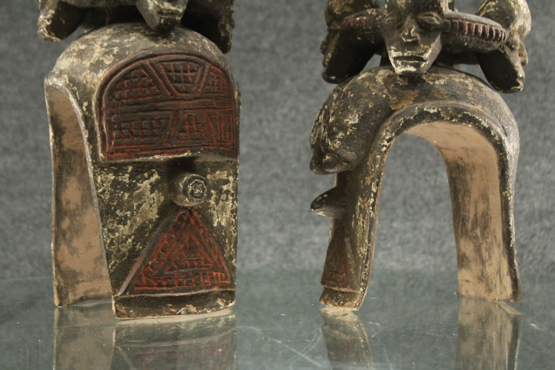 Pair of carved African ceremonial figurines - 2
