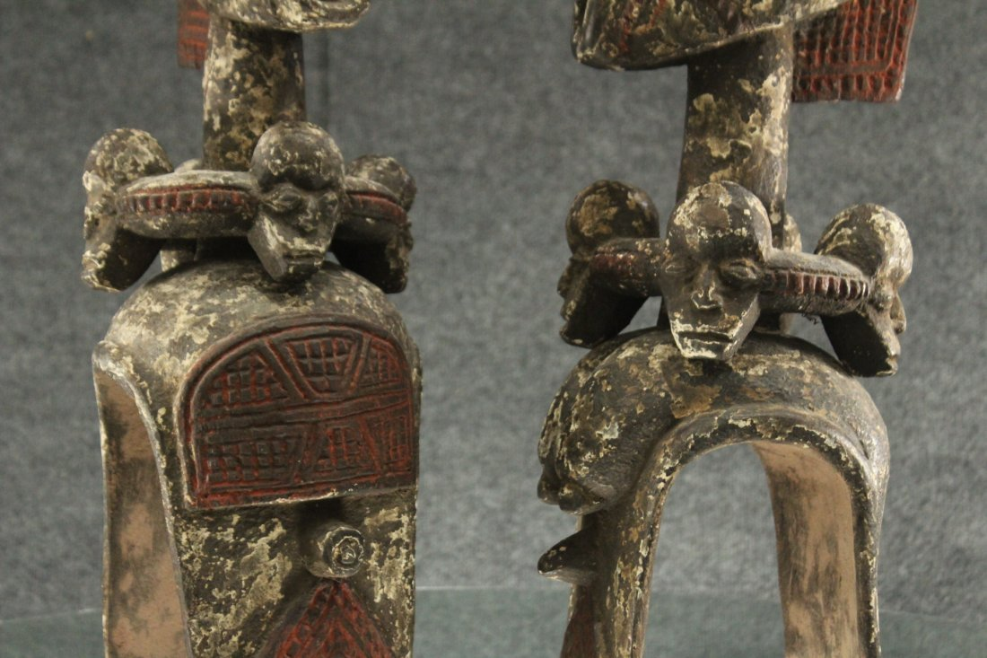 Pair of carved African ceremonial figurines - 3