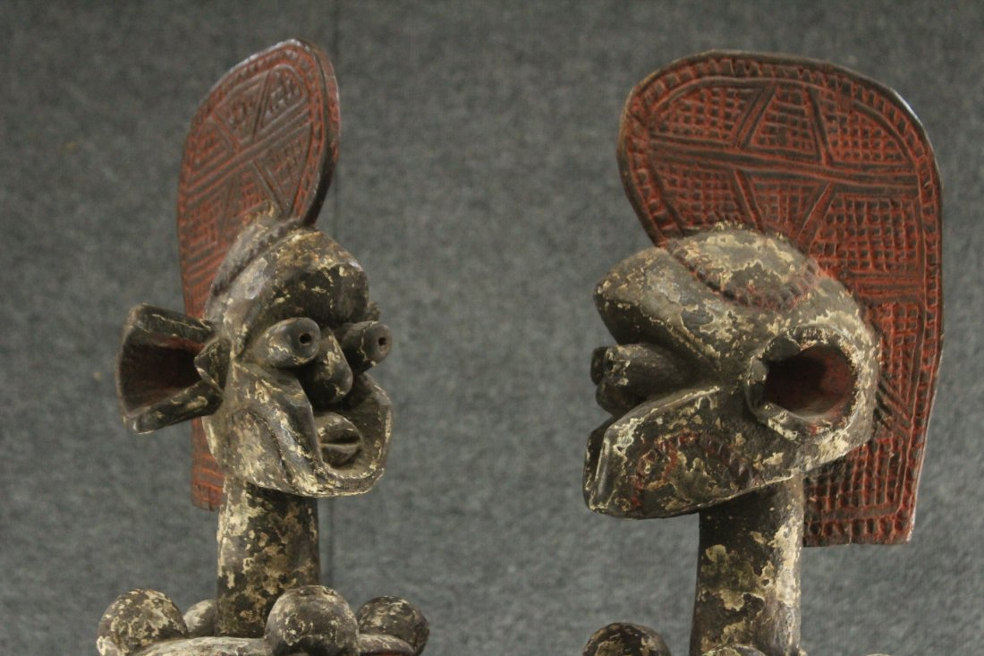 Pair of carved African ceremonial figurines - 4