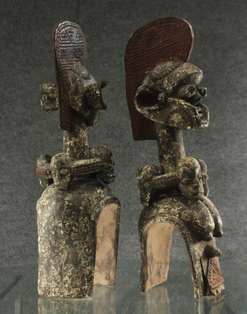 Pair of carved African ceremonial figurines - 5